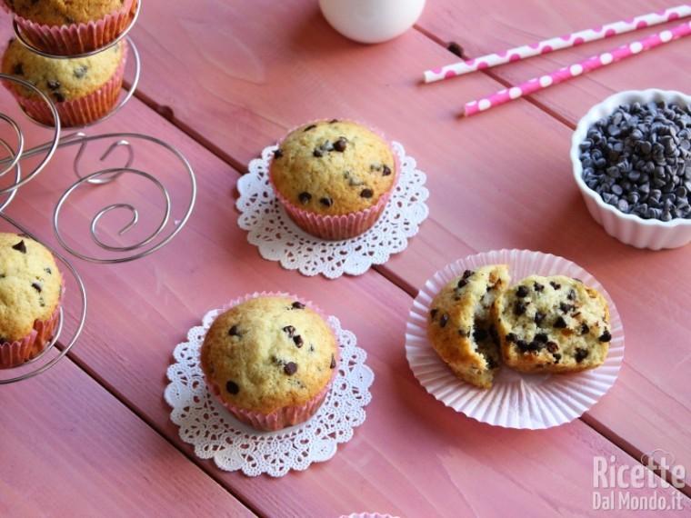Ricetta Muffin Con Gocce Di Cioccolato.Muffin Con Gocce Di Cioccolato Bimby Ricettedalmondo